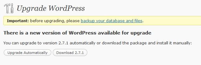 upgrade WordPress step 2
